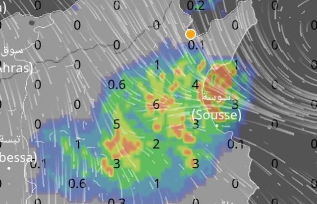 بلاغ من المعهد الوطني للرصد الجوي امطار غزيرة تتجه نحو الساحل