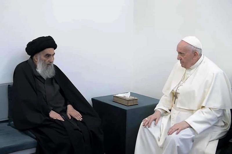 لقاء تاريخي بين البابا فرنسيس والمرجع الديني الأعلى لشيعة العراق